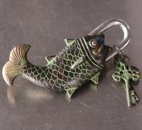 Details about Chinese Antique Bronze Made Available Lifelike Fish lock Statue