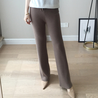 Hot Spring Autumn Lady Casual Knit Cashmere Pants Full Length Fashion Lace up High Waist Wool Pants With Pockets High Quality