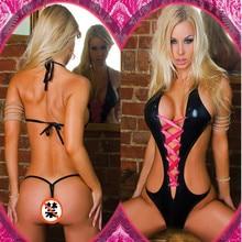 Women Sexy Black Wet Look PVC Patent leather Bodysuits Eroti
