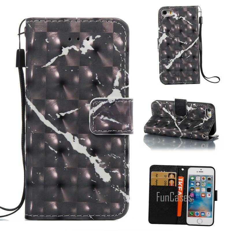 Fundas de teléfono para Apple Iphone 5 5S 3D mármol piedra granito PU cuero Flip funda soporte billetera para Coque iphone SE de Capa