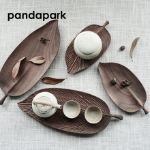 купить Pandapark Creative Leaf Shape Wooden Tea Tray Puer Oolong Chinese Tea Set Teapot Serving Tray High Quality Dienblad PPM025 дешево