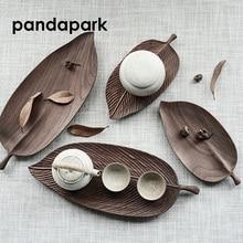 Pandapark Creative Leaf Shape Wooden Tea Tray Puer Oolong Chinese Tea Set Teapot Serving Tray High Quality Dienblad PPM025 цена