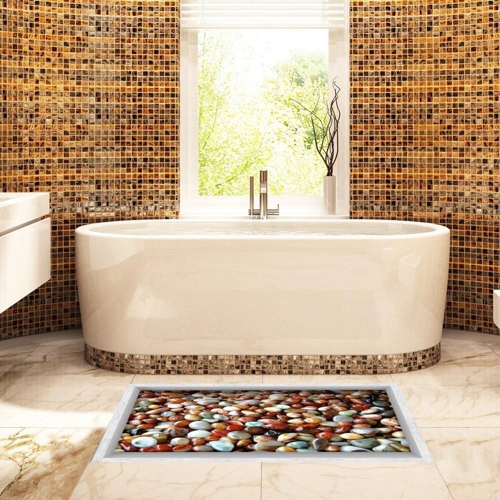 Pebble Stones 3D Peel and Stick Waterproof Non Slip PVC Bathroom ...
