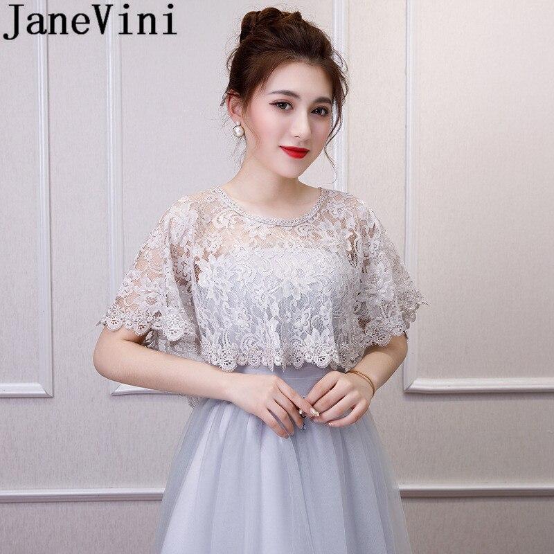 JaneVini 2019 Lace Bridal Bolero Novia Girl Women Cape Wedding Shawl Boleros Cloak Party Prom Dress Wraps Jackets Red Pink Black