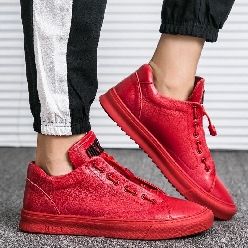 Respirant Véritable 2018 Cuir Mode Noir rouge De Chaussure Plat Mocassins Casual Homme Chaussures blanc Hommes Northmarch En qBUggH