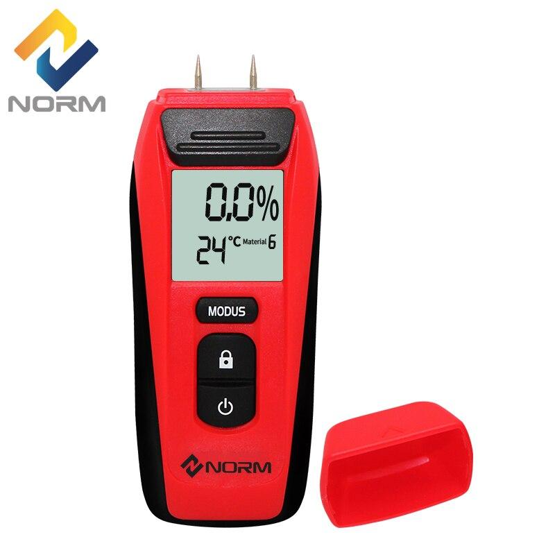 Norma Portatile Digitale Misuratore di Umidità Legno Due Spilli Calda Tester di Umidità di 0.5 per cento di Precisione Igrometro Legname Damp Detector