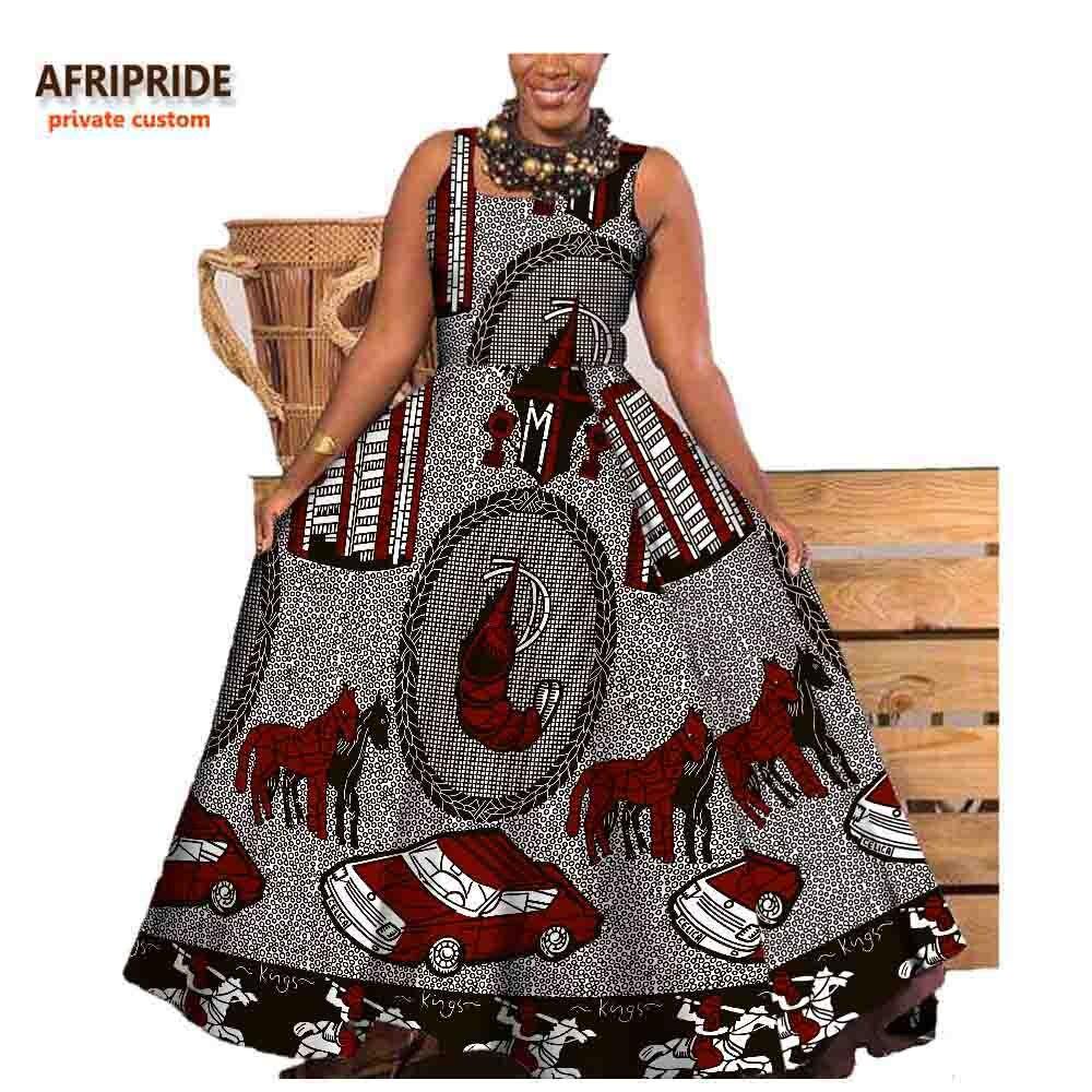 2019 automne longue robe africaine pour les femmes AFRIPRIDE privé personnalisé sans manches cheville-longueur robe plissée 100% batik coton A722575