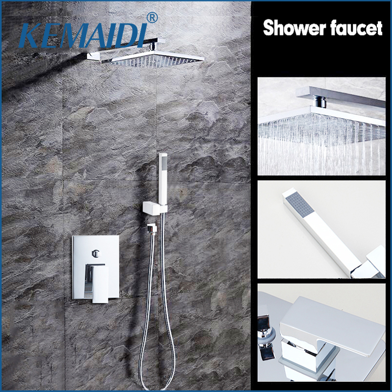 KEMAIDI 8 Rainfall Shower Head System Polished Chrome Bath & Shower Faucet Bathroom Rain Mixer Shower Combo Set Wall Mounted chrome bathroom thermostatic mixer shower faucet set dual handles wall mount bath shower kit with 8 rainfall showerhead