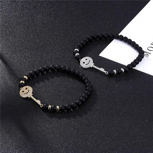Купить janeyacy брендовый модный браслет из бисера черный смайлик мужской картинки