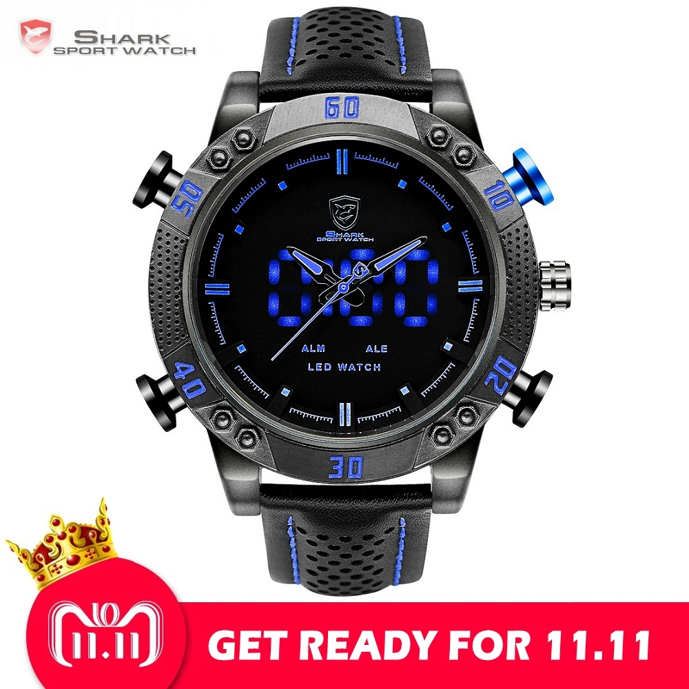 цена Kitefin Shark Sport Watch Brand Blue Outdoor Hiking Digital LED Electronic Watches Calendar Alarm Leather Band Men Clock /SH265