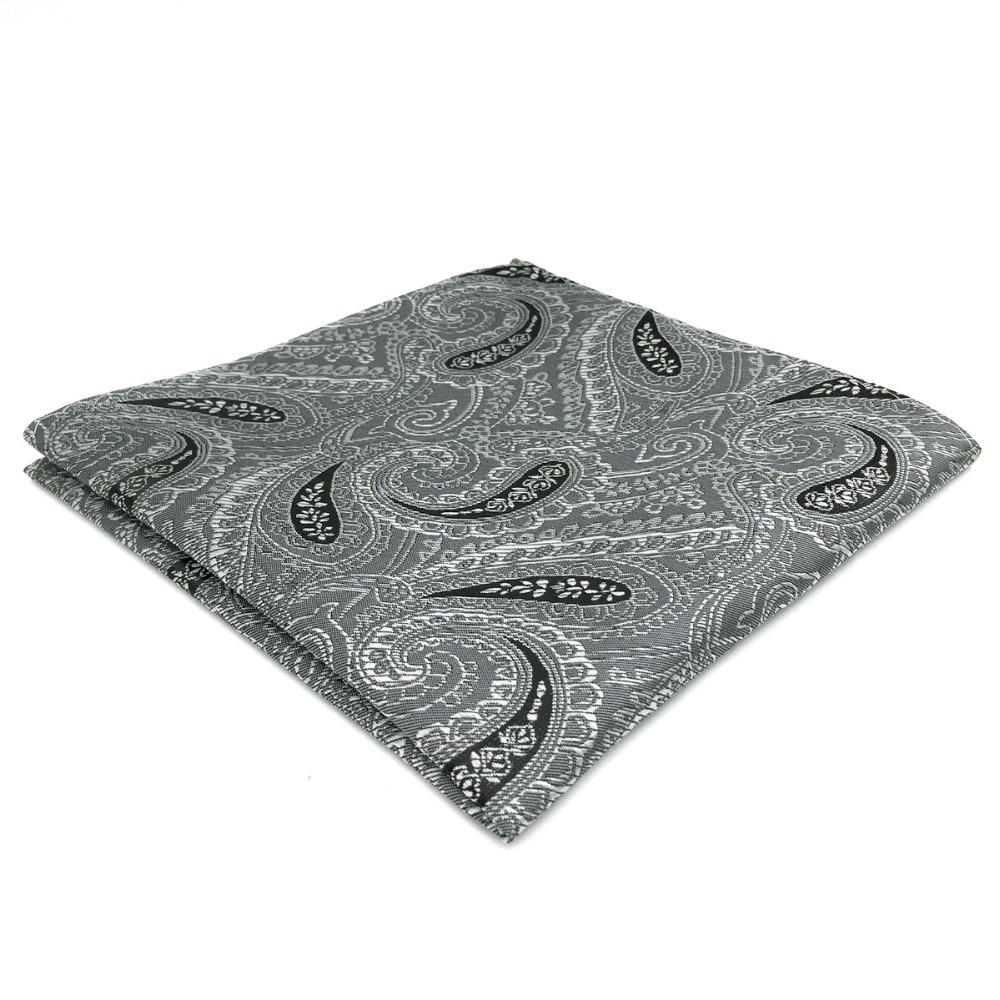 DH30 Dark Grey Paisley Pocket Square For Men Classic Handkerchief Hanky