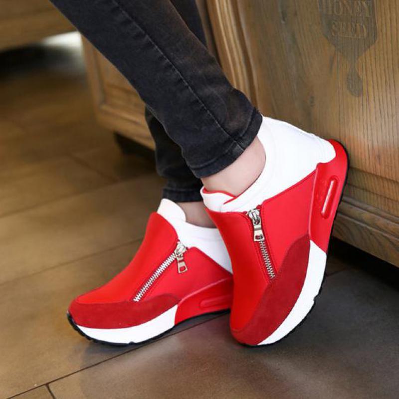 Primavera Cremallera en forma de bota Zapatos Para Caminar Zapatos Para Mujeres