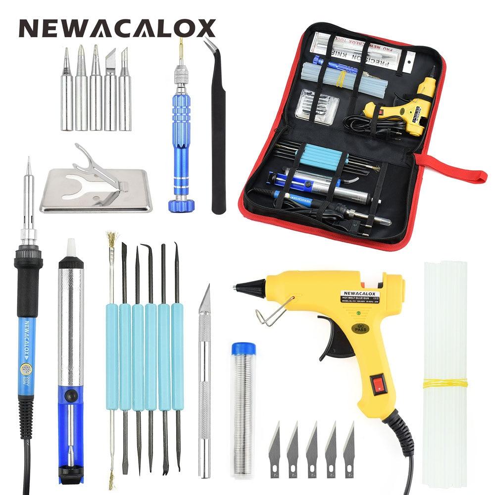NEWACALOX UE 220 v 60 w DIY Pistola de Cola de Temperatura Ajustável De Solda Elétrica Ferro de Solda Kit Chave De Fenda Reparação Faca Carving
