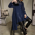 [XITAO] 2017 New fashion women turn down collar solid color hollow out irregular length full sleeve personality  blouses ATT019