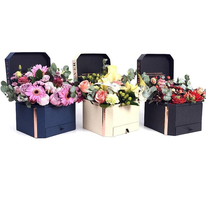 1 pcs camadas duplas de flor Caixa de Papelão de Embalagem de Presente caixas de papel Rose Bouquet Decoração de Casamento Dia Dos Namorados Presente Casos