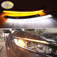For Honda Civic 2016 2017 2018 LED DRL Headlight Eyebrow Daytime Running Light fog lamp With Flowing dynamic Yellow Turn Signal 2pcs led drl daytime running lights white light color headlight turn signal fog lamp for honda for civic 2016 2018 auto parts