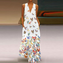 CALOFE NEW Women Butterfly Printed Long Dress Summer Loose Pocket Beach Maxi Dress Bohemian Sexy V-Neck Dress Femme Plus Size(China)