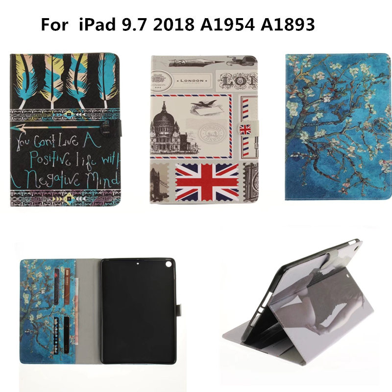 Fashion OWI Tiger Lion wallet PU leather Stand case cover For Apple New iPad 9.7 inch 2018 Release A1954 A1893 Tablet Cute Cases