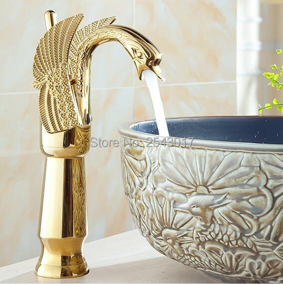 Золотой кран Ванная комната Роскошный Европейский Стиль Лебедь Carving раковиной смеситель бортике Прилавок torneira ZR476