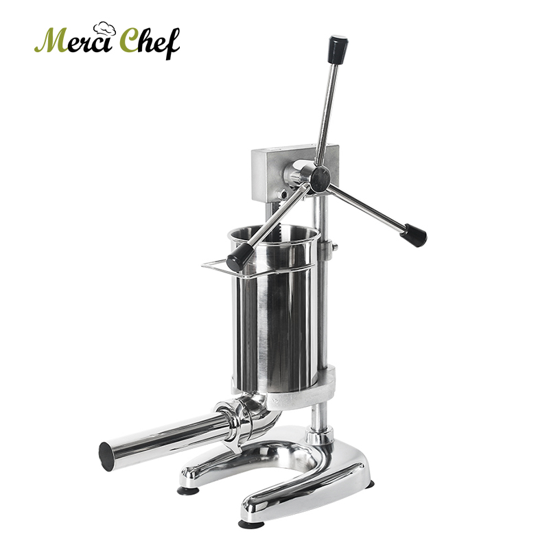 ITOP 2L Sausage Stuffer Stainless Steel Meat Filling Machine Kitchen Food Processors Manual Sausage Filler With 4 Size FunnelsITOP 2L Sausage Stuffer Stainless Steel Meat Filling Machine Kitchen Food Processors Manual Sausage Filler With 4 Size Funnels
