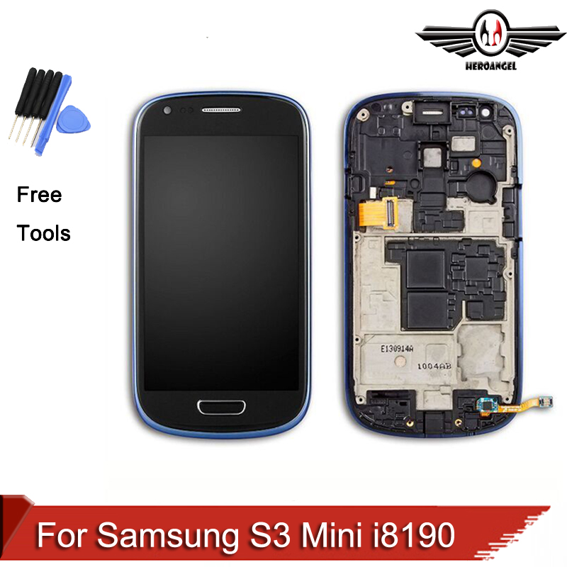 ФОТО For Samsung Galaxy S3 Mini I8190 LCD touch screen display with digitizer + Bezel Frame free tool +cable