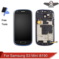 For Samsung Galaxy S3 Mini I8190 LCD touch screen display with digitizer + Bezel Frame free tool +cable