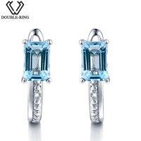 DOUBLE-R 1.5ct חתונת עגילי נשים כיכר יהלום אמיתי טבעי אבן עגילים הכחול טופז 925 נשי תכשיטי כסף מתנה