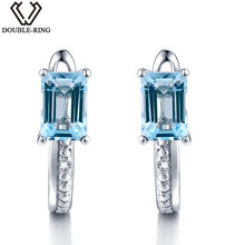 DOUBLE-R Reales Pendientes de Bodas de Diamante Mujeres 1.5ct Cuadrados Pendientes de Piedra Topacio Azul Natural 925 Joyería de Plata Regalo de Las Mujeres