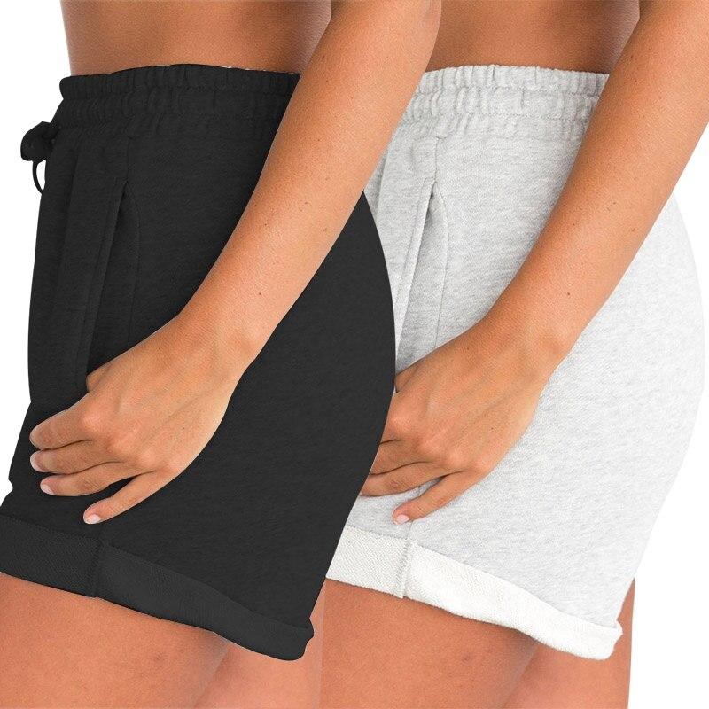 Summer Gray Black Shorts High Waist Drawstring Shorts Women Elastic Waist Shorts With Pocket Casua Black Gray Sweat Shorts