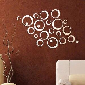 Image 3 - 24 unidades/juego de pegatinas 3D para pared, pegatinas de espejo para decoración del hogar, Fondo de TV, decoración del hogar, arte de pared Acrílico