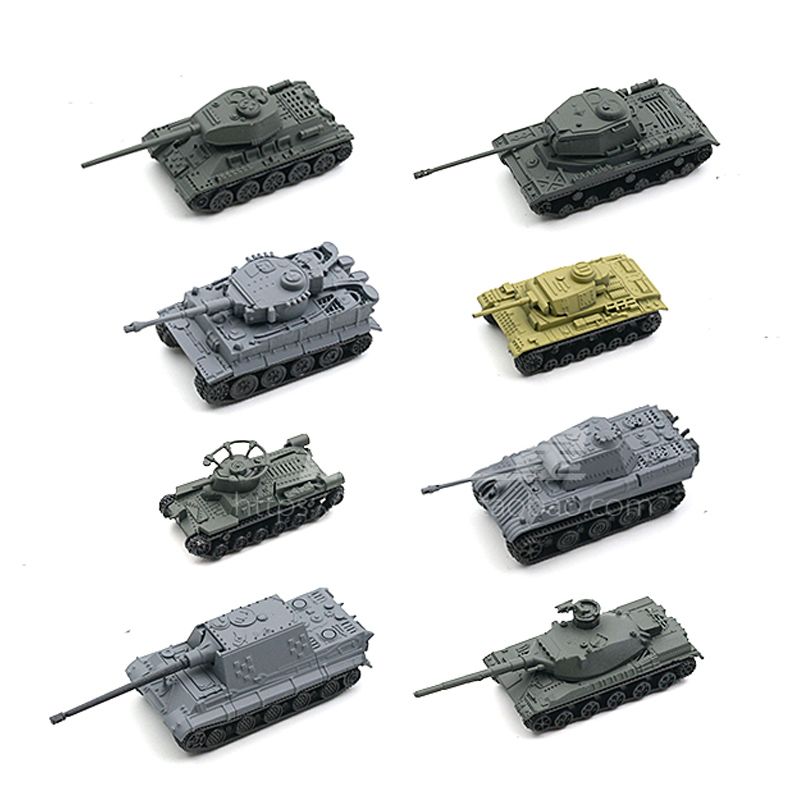 new 8pcs/set 1:144 World War II tank assembly model, tiger T34, tiger hunting tank scene, sand table model trumpeter assembled tank model 00910 world war ii german tiger tanks 2 in 1