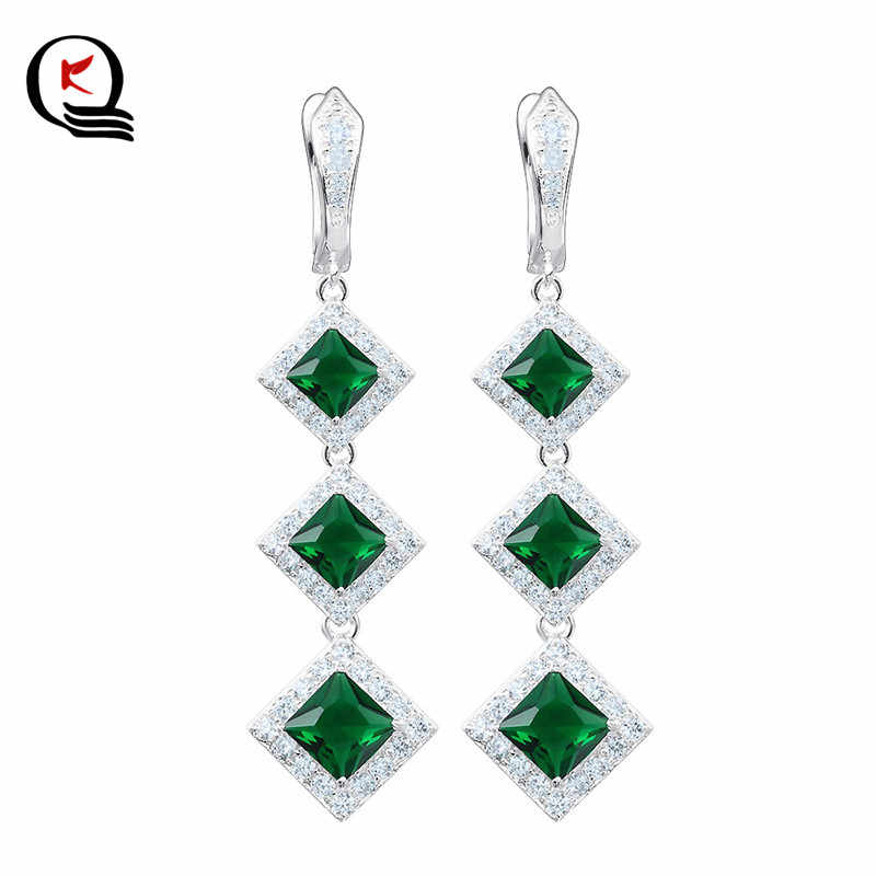 Crystal Long Drop Earrings Bohemian Dangle Silver Plated Earrings for Women Wedding Christmas Jewelry Gifts
