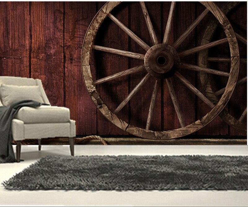 Custom 3D murals,Retro 3D murals, wood and wood wheels papel de parede,living room TV wall bedroom wallpaper