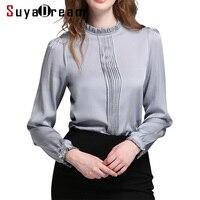 Для женщин футболка 94% натуральный шелк 6% спандекс Стенд воротник офис леди рубашка 2017 Осень новинка зимы рубашка Большие размеры 4XL