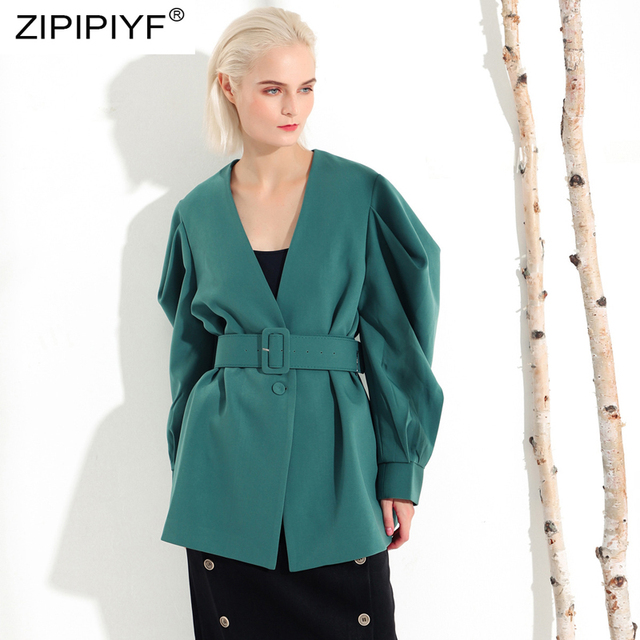 Euro Style V Neck Solid Color Casual Coats Long Bating Sleeve Belt Winter Coats Vintage Trench Coats Street Single-breasted Z095