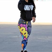 2019 wiosna jesień moda Jeggings dla kobiet BOOM druk cyfrowy Cartoon śmieszne legginsy komiks Hip Push Up Sexy kobiety legginsy tanie tanio Ulfsaar NX035 Kostek Wysoka Cienkie Dzianiny Na co dzień Poliester Elastan Akrylowe Print