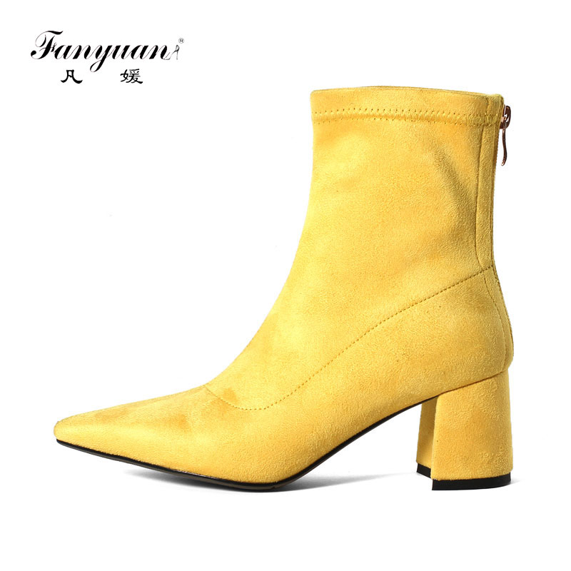 fanyuan sheep suede ankle boots fashion pointed toe thick heel women boots high heel genuine leather lady boots plus size 33-43 basic 2018 women thick heel ankle boots black pu fleeces round toe work shoe red heel winter spring lady super high heel boots