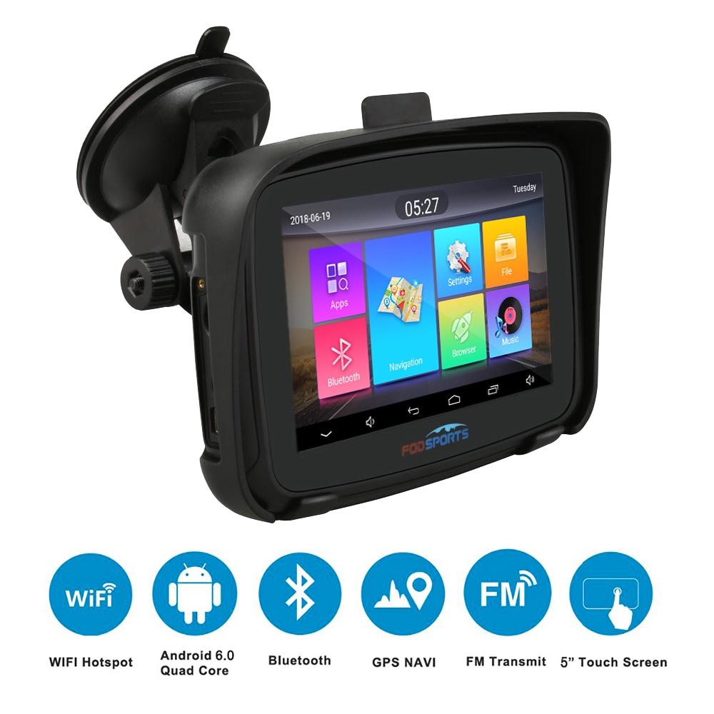 Fodsports 5 polegada Motocicleta Navegação do GPS do Android 6.0 Wi-fi À Prova D' Água Bluetooth GPS Do Carro Navegador GPS Moto IPX7 RAM 1G ROM 16G