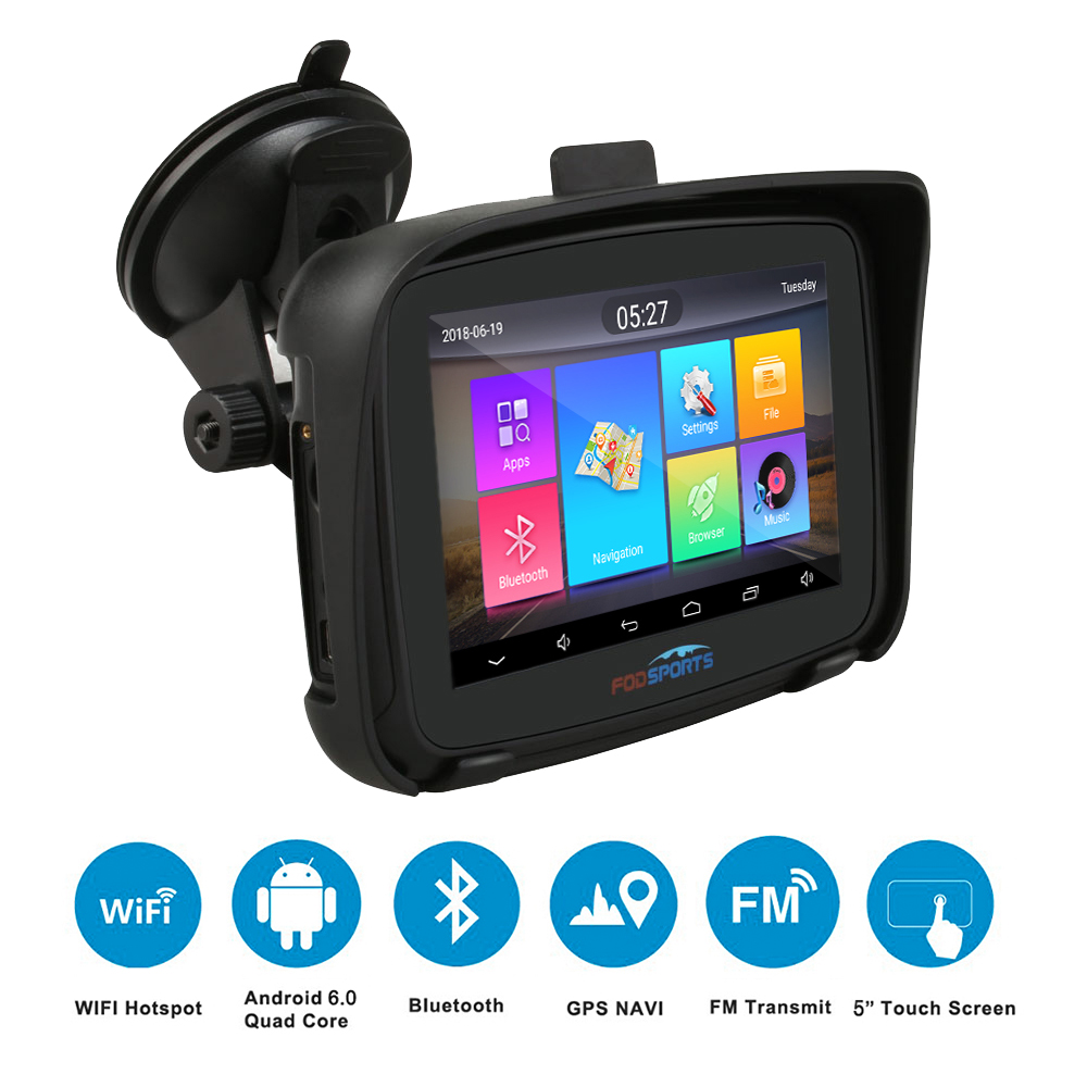 Fodsports 5 inch Motorcycle GPS Navigation Android 6.0 Wifi Waterproof Bluetooth GPS Navigator Car Moto GPS IPX7 RAM 1G ROM 16G