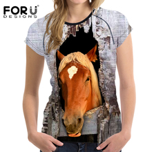 FORUDESIGNS Women Horse T shirt Female Tops Tees Humor Woman O neck Summer Style Tshirt Casual Fitness t-hirt S-XXL