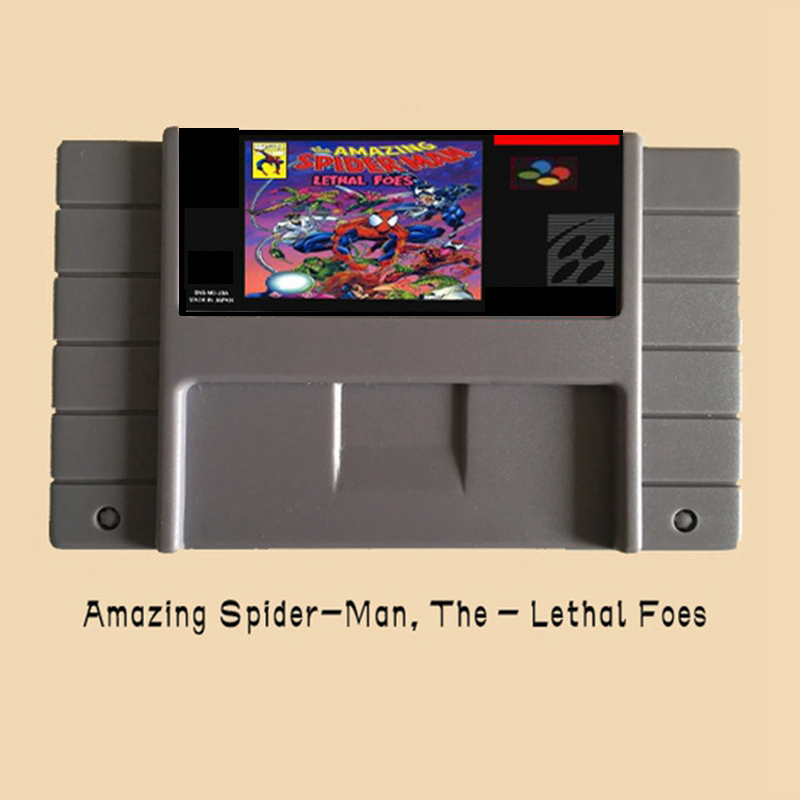 Amazing Spider Man The Lethal Foes USA Version 16 bit Big Gray Game Card For NTSC Game Player