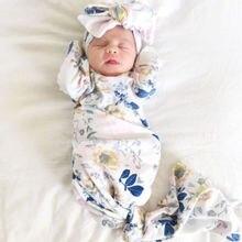 Для новорожденных, для маленьких мальчиков и девочек спальные мешки пеленать Одеяло мягкие длинные носки для малышей, с цветочным узором реквизит костюм