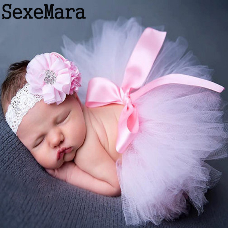 2017Newborn Photography Props Baby Tutu Skirt Pink Infant Photo Costume Elegant Design Photo Props Lace Dresses and Headband Set