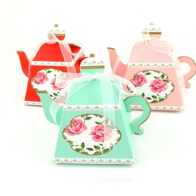 100 x europe royal tea time whimsy teapot favor boxes bridal shower tea party candy box