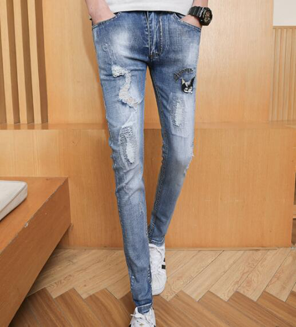 Mens fashion and leisure Korean version of the new style personality trim a hundred young students stretch jeans / 28-32
