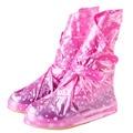 Многоразовые Дождь обувь обложка Женщины/мужчины/дети дети утолщаются непромокаемые Сапоги Цикла Дождь Плоским скольжению Галоши