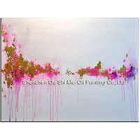 Professional Artist Hand Painted Pink And Gold Abstract Oil Painting On Canvas Beautiful Color Oil Painting