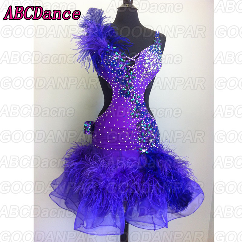 Latin Dance Dress Women Purple Sexy Dance Latin Dress With Feathers Ballroom Latin Swing Rumba Samba Chacha Dance Dress