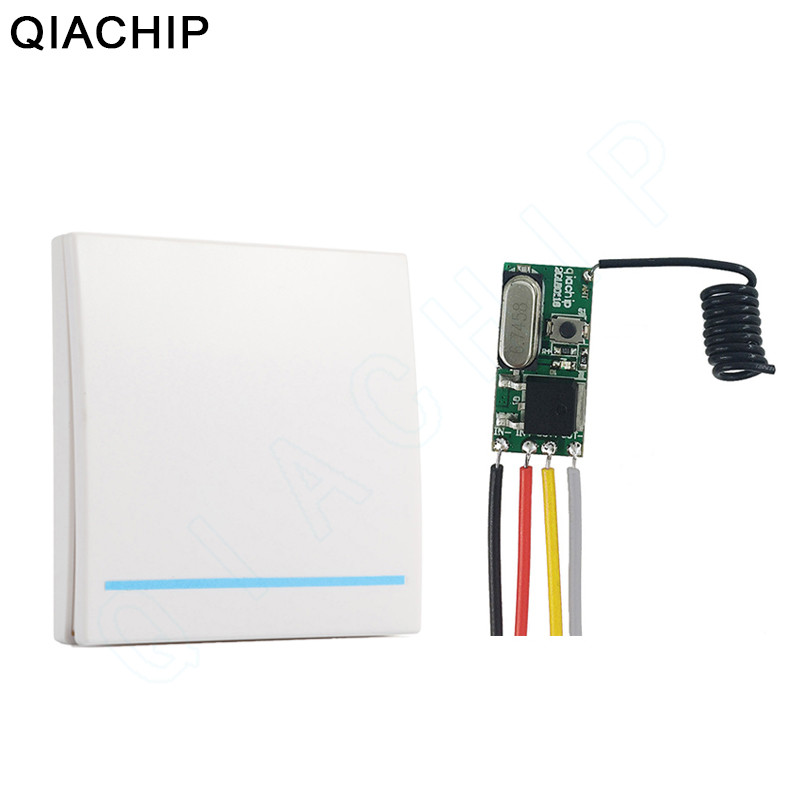 QIACHIP 433Mhz 3.6V 12V 24V 1CH Wireless Remote Control Switch RF Receiver Controller LED Light 86 Wall Panel Radio Transmitter