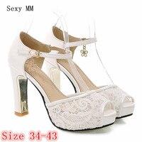 Air mesh Platform Pumps Summer Women Peep Toe High Heels Sandals Woman High Heel Party Wedding Shoes Plus Size 34 40.41.42.43